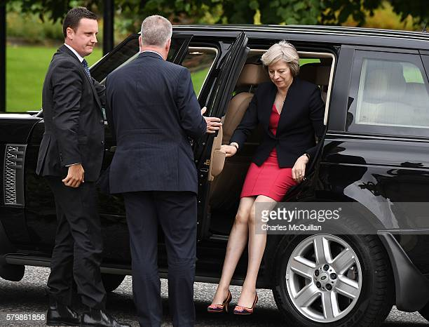 Prime Minister Theresa May arrives for a meeting with Northern Ireland first minister Arlene Foster and deputy first minister Martin McGuinness at...