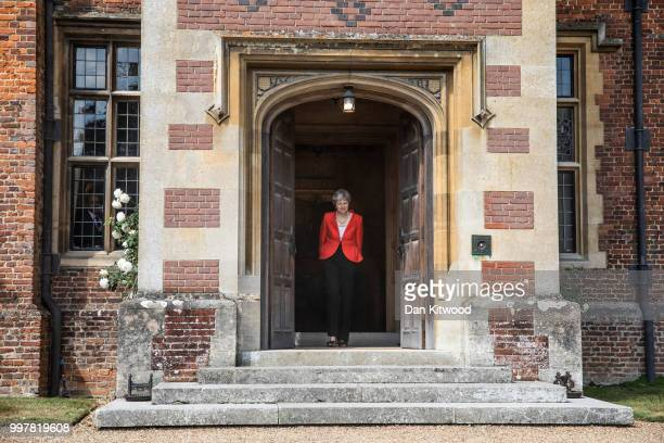 Prime Minister Theresa May arrives to greet US President Donald Trump at Chequers on July 13 2018 in Aylesbury England US President Donald Trump held...