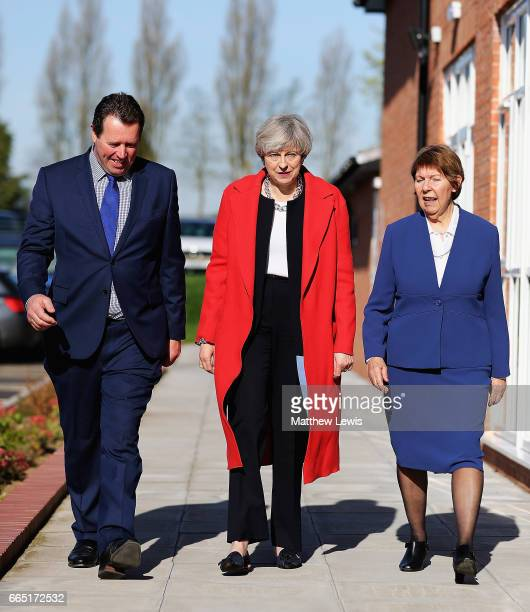 Prime Minister Theresa May arrives with Mark Spencer MP and Kay Cutts Nottinghamshire Councillor as she Launches The Conservative Party Local...