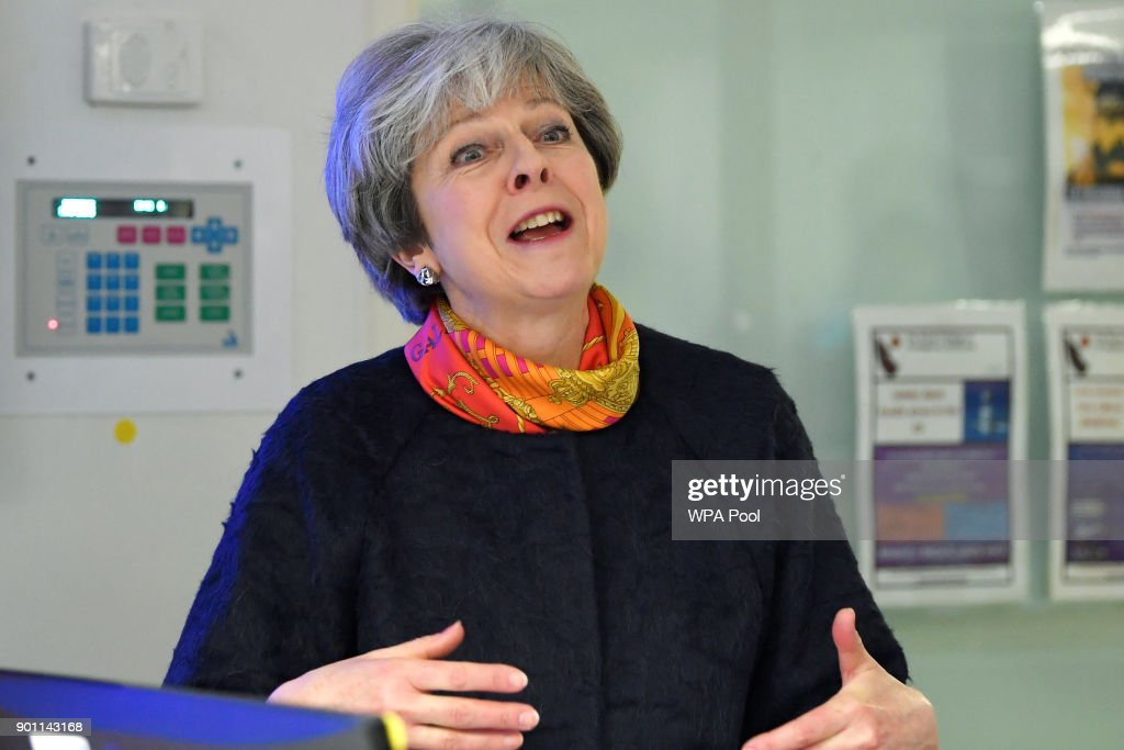 Prime Minister Theresa May at Frimley Park Hospital on January 4, 2018 in Frimley, England.