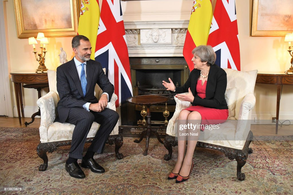 Prime Minister Theresa May attends a meeting with King Felipe VI of Spain at 10 Downing Street during a State visit by the King and Queen of Spain on July 13, 2017 in London, England. This is the first state visit by the current King Felipe and Queen Letizia, the last being in 1986 with King Juan Carlos and Queen Sofia.