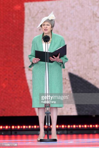 Prime Minister Theresa May attends the D-Day75 National Commemorative Event to mark the 75th Anniversary of the D-Day Landings at Southsea Common on...
