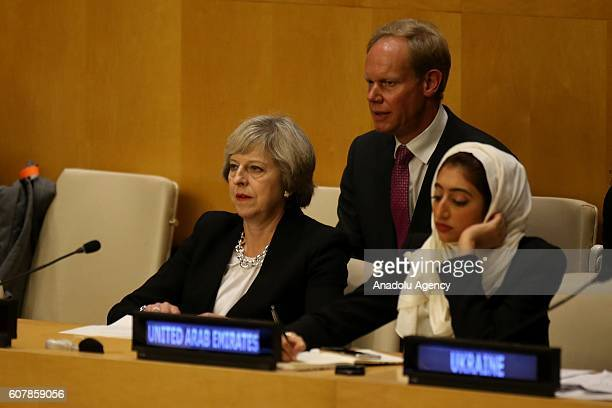 Prime Minister Theresa May attends the Economic and Social Council Chamber highlevel meeting during UN Summit for Refugees and Migrants at the United...