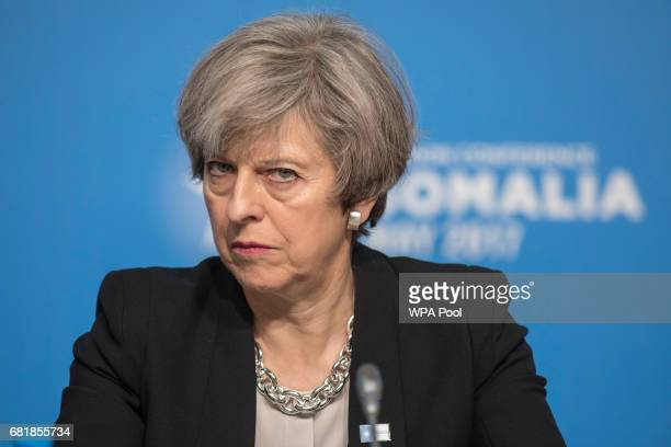 Prime Minister Theresa May attends the London Conference on Somalia at Lancaster House on May 11, 2017 in London, England.