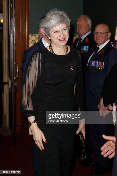Prime Minister Theresa May attends the Royal British Legion Festival of Remembrance at the Royal Albert Hall on November 10 2018 in London England...
