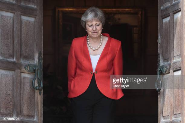 Prime Minister Theresa May awaits the arrival of U.S. President Donald Trump at Chequers on July 13, 2018 in Aylesbury, England. US President, Donald...