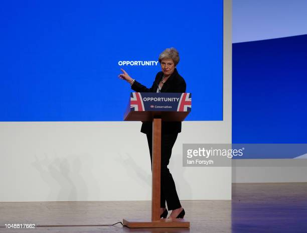 Prime Minister Theresa May dances to the Abba song Dancing Queen as she walks on stage to deliver her keynote speech on the final day of the...