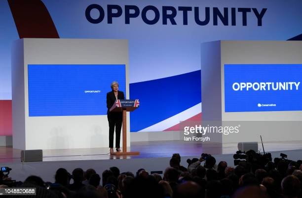 Prime Minister Theresa May delivers her keynote speech on the final day of the Conservative Party Conference in the International Convention Centre...