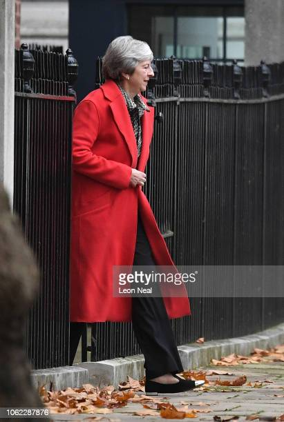 Prime Minister Theresa May departs Downing Street on November 16 2018 in London England The Prime Minister is facing the growing prospect of a vote...