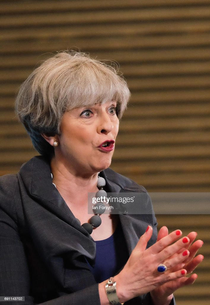 Prime Minister Theresa May gives a speech to party supporters at a plant machinery manufacturing firm on June 1, 2017 in Guisborough, United Kingdom. All parties continue to campaign across the country ahead of the general election on June 8.
