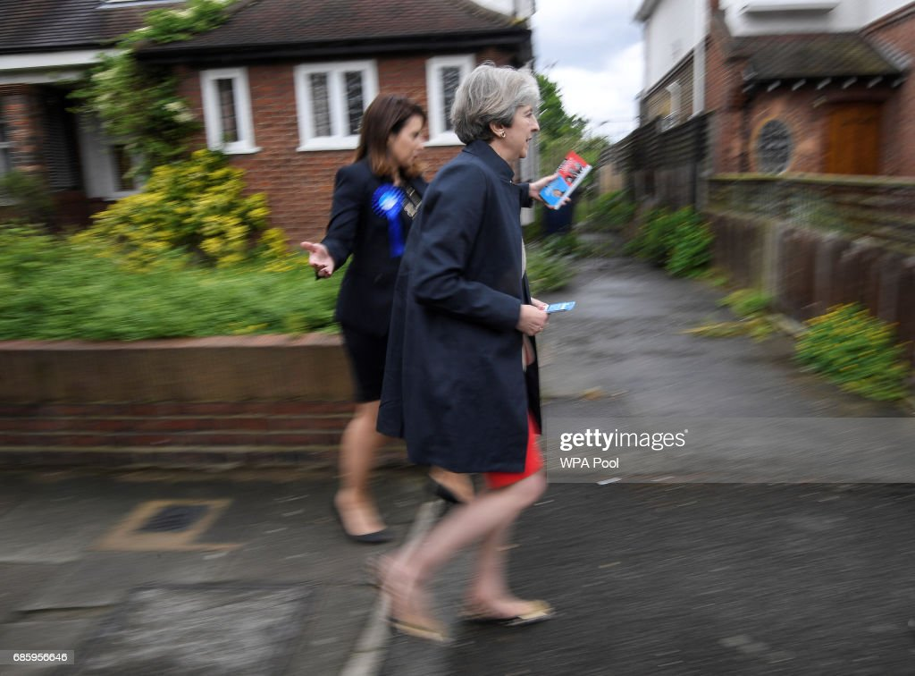 Theresa May Campaigns On The Conservative Battle Bus - Day Nine : News Photo