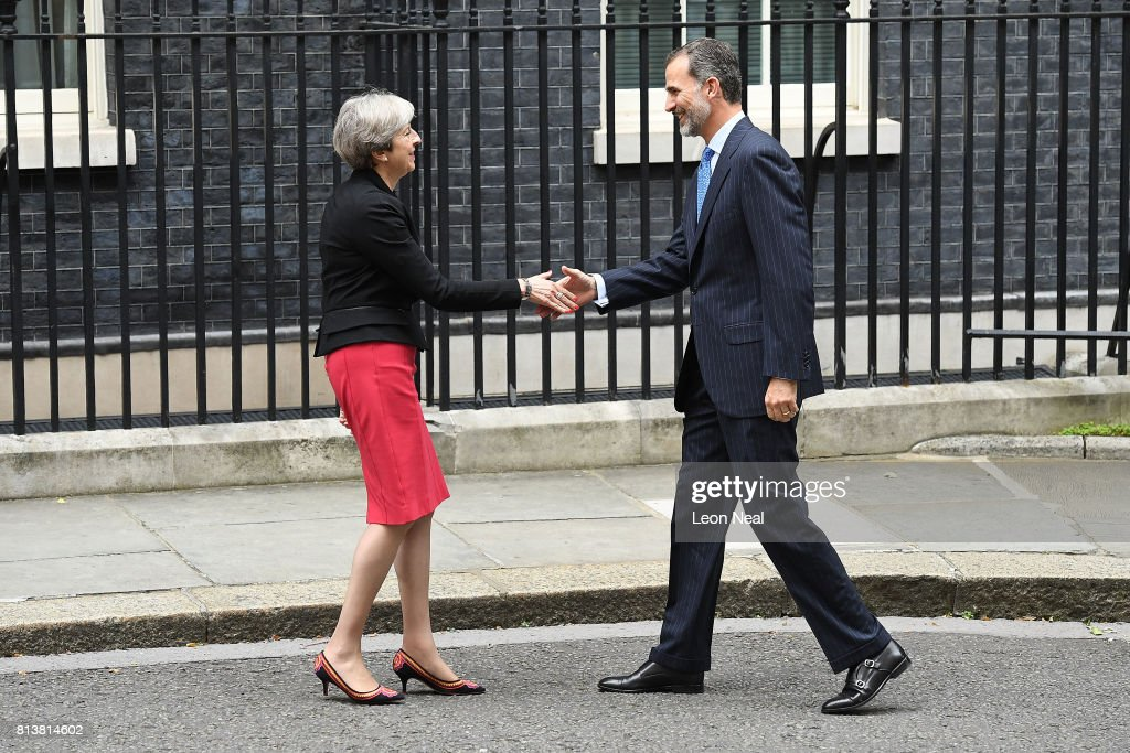 Prime Minister Theresa May greets King Felipe VI of Spain at 10 Downing Street during a State visit by the King and Queen of Spain on July 13, 2017 in London, England. This is the first state visit by the current King Felipe and Queen Letizia, the last being in 1986 with King Juan Carlos and Queen Sofia.