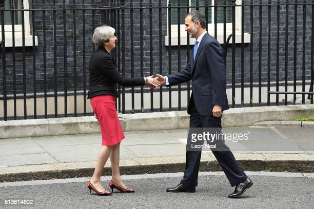 Prime Minister Theresa May greets King Felipe VI of Spain at 10 Downing Street during a State visit by the King and Queen of Spain on July 13 2017 in...