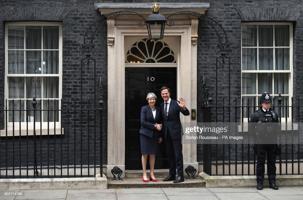 Prime Minister Theresa May greets the Dutch Prime Minister Mark Rutte outside 10 Downing Street in London.
