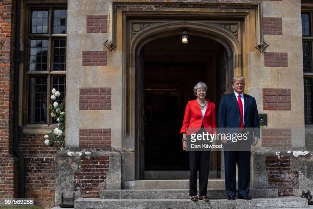 Prime Minister Theresa May greets US President Donald Trump at Chequers on July 13 2018 in Aylesbury England US President Donald Trump held bilateral...