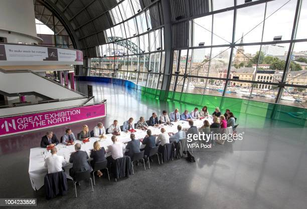 Prime Minister Theresa May holds a cabinet meeting at Sage Gateshead on July 23 2018 in Gateshead England