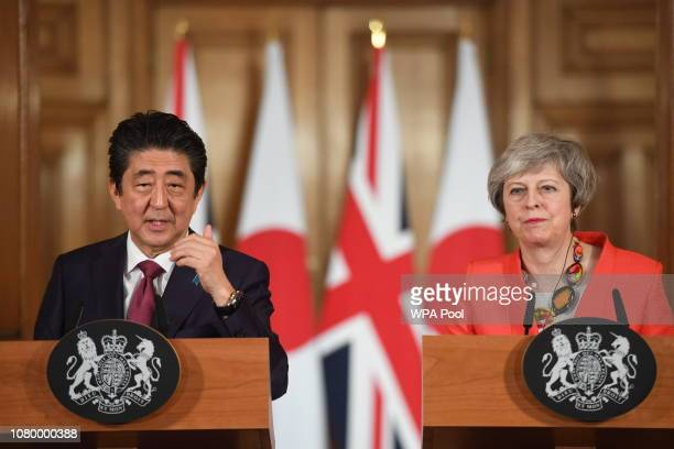 Prime Minister Theresa May holds a press conference with Japanese Prime Minister Shinzo Abe after bilateral talks at 10 Downing Street on January 10...