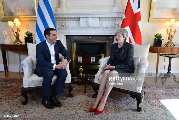 Prime Minister Theresa May holds talks with her Greek counterpart Prime Minister Alexis Tsipras at No 10 Downing Street on June 26 2018