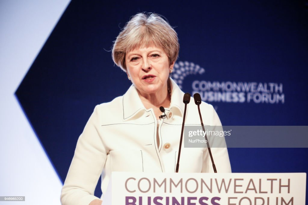 Prime minister Theresa May is giving her opening remarks at the Business Forum Opening Session on Delivering a Prosperous Commonwealth For All during the Commonwealth Heads of Government Meeting in London, United Kingdom, April 16, 2018.