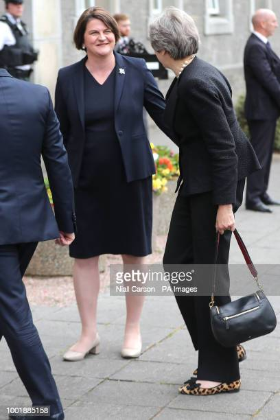 Prime Minister Theresa May is greeted by DUP Leader Arlene Foster to the Belleek pottery factory on the northern side of border between Enniskillen...