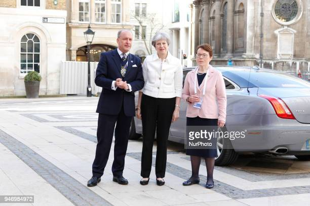Prime minister Theresa May is welcomed by the Lord Mayor of London Charles Bowman at the Guildhall for the Business Forum Opening Session on...