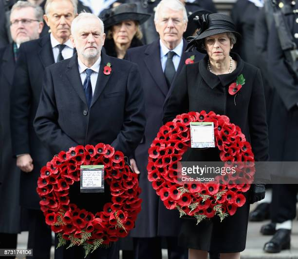 Prime Minister Theresa May John Major Labour leader Jeremy Corbyn stand in front of Tony Blair and John Major during the annual Remembrance Sunday...