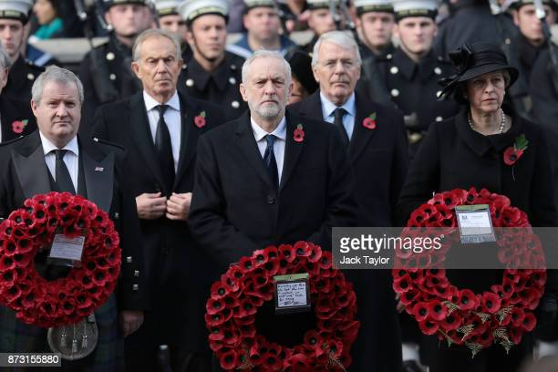 Prime Minister Theresa May John Major Labour leader Jeremy Corbyn Tony Blair and Ian Blackford attend the annual Remembrance Sunday memorial at the...