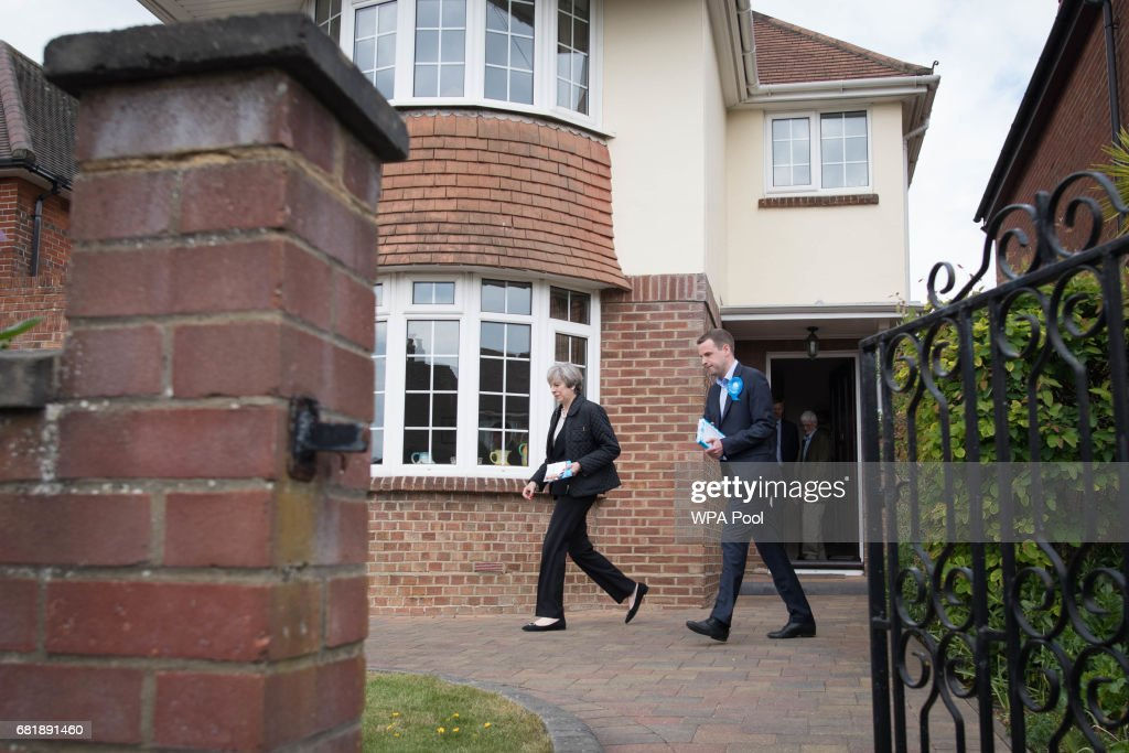 Prime Minister Theresa May joins Conservative candidate Paul Holmes during a visit to Southampton on the election campaign trail, on May 11, 2017 in Southampton, England.