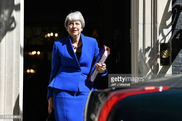 Prime Minister Theresa May leaves 10 Downing Street for her final PMQ's on July 24 2019 in London England Theresa May has been leader of the...