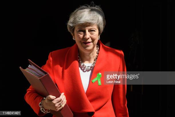 Prime Minister Theresa May leaves 10 Downing Street for Prime Minister's Questions on May 15 2019 in London England