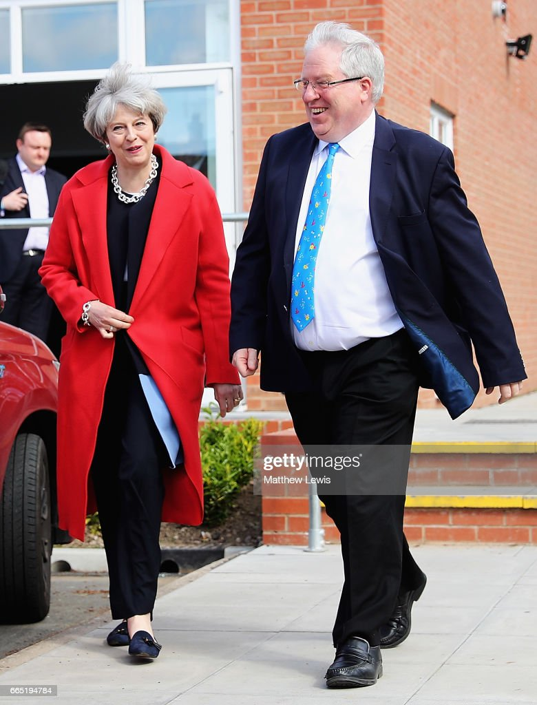 Prime Minister Theresa May leaves Calverton Village Hall with Sir Patrick McLoughlin MP, after making a speech as she Launches The Conservative Party Local Election Campaign at Calverton Village Hall on April 6, 2017 in Nottingham, England. Theresa May launched the Conservative Party's Local Election Campaign. The elections will be held on May 4th 2017 and include seats on County Councils across England, Scotland and Wales as well as elections for the recently created English Regional Mayors. the Manchester Gorton By-election will also be held on the same day.