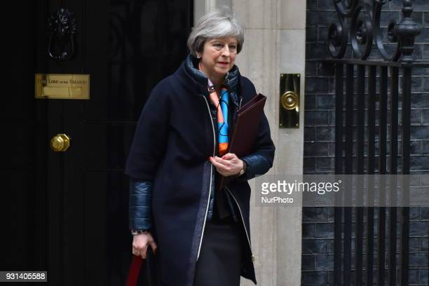 Prime Minister Theresa May leaves Downing Street after attending the weekly Cabinet meeting London on March 13 2018 Prime Minister Theresa May and...
