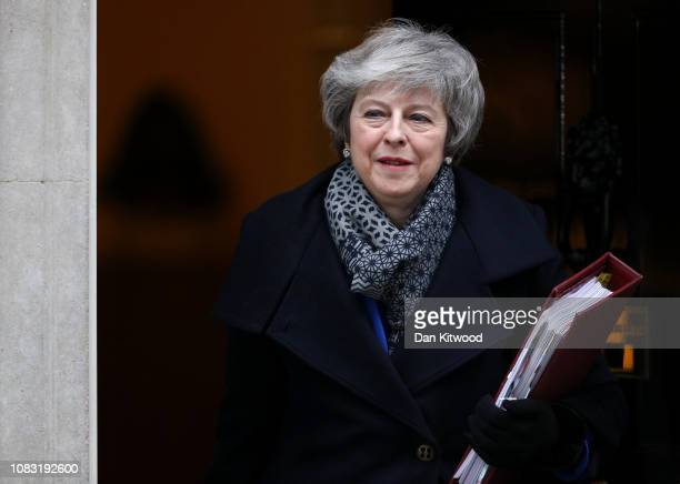 Prime Minister Theresa May leaves Downing Street ahead of a vote of no confidence in government on January 16 2019 in London England The government...