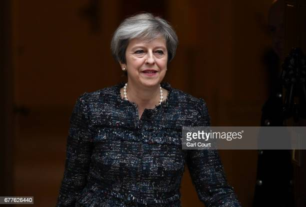 Prime Minister Theresa May leaves Downing Street for Buckingham Palace on May 3 2017 in London England The Prime Minister will visit The Queen at...