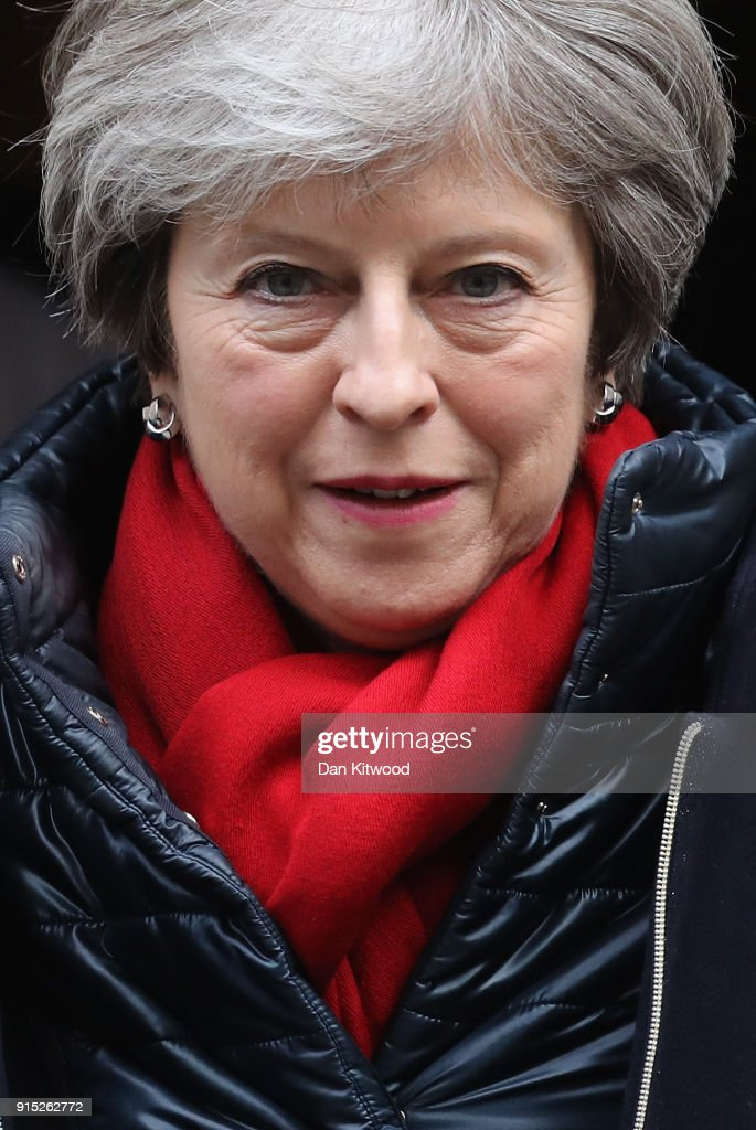 Prime Minister Theresa May leaves Downing Street for Prime Minister's Questions on February 7, 2018 in London, England.