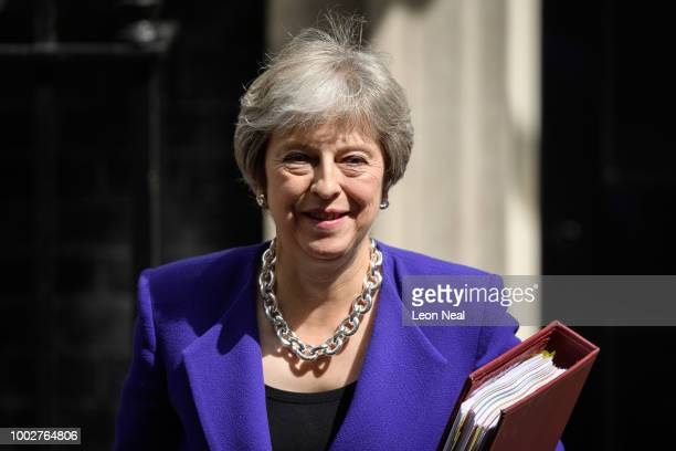Prime Minister Theresa May leaves Downing Street on July 18 2018 in London England The Prime Minister will address Conservative MPs today while also...