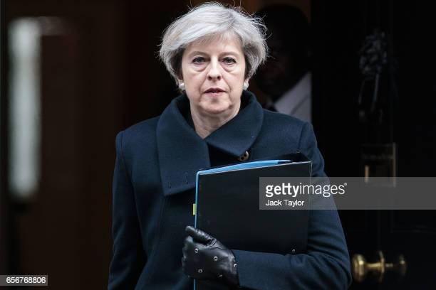 Prime Minister Theresa May leaves Downing Street on March 23, 2017 in London, England. The British Prime Minister Theresa May spoke last night after...