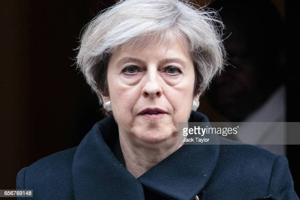 Prime Minister Theresa May leaves Downing Street on March 23 2017 in London England The British Prime Minister Theresa May spoke last night after a...