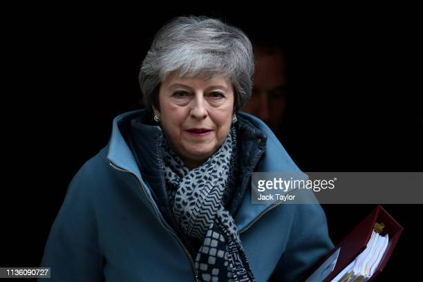 Prime Minister Theresa May leaves Number 10 Downing Street for PMQ's on April 10 2019 in London England EU leaders are set to meet for an emergency...