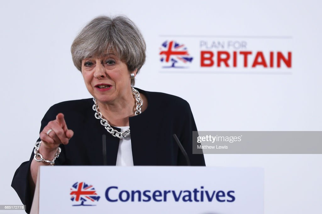 Prime Minister Theresa May makes a speech as she Launches The Conservative Party Local Election Campaign at Calverton Village Hall on April 6, 2017 in Nottingham, England. Theresa May launched the Conservative Party's Local Election Campaign. The elections will be held on May 4th 2017 and include seats on County Councils across England, Scotland and Wales as well as elections for the recently created English Regional Mayors. the Manchester Gorton By-election will also be held on the same day.