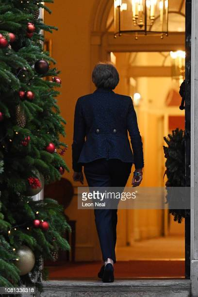 Prime Minister Theresa May makes a statement in Downing Street after it was announced that she will face a vote of no confidence to take place...