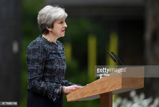 Prime Minister Theresa May makes a statement in Downing Street after returning from Buckingham Palace on May 3 2017 in London England The Prime...