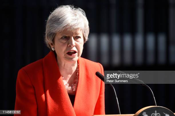 Prime Minister, Theresa May makes a statement outside 10 Downing Street on May 24, 2019 in London, England. The prime minister has announced that she...