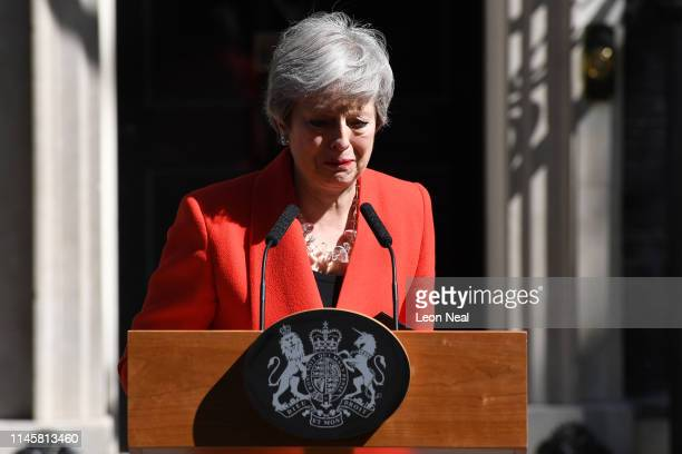 Prime Minister Theresa May makes a statement outside 10 Downing Street on May 24 2019 in London England The prime minister has announced that she...