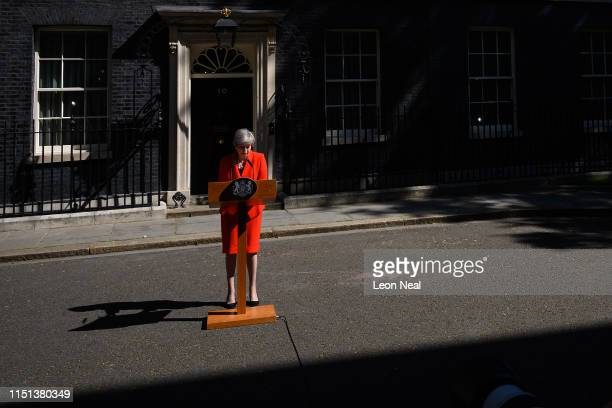 Prime Minister Theresa May makes a statement outside 10 Downing Street on May 24, 2019 in London, England. The prime minister has announced that she...