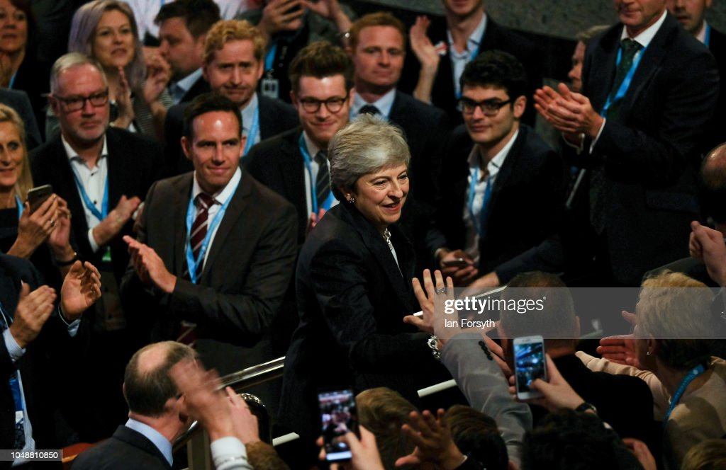 Conservative Party Leader Speaks To Conference On Day Four : News Photo