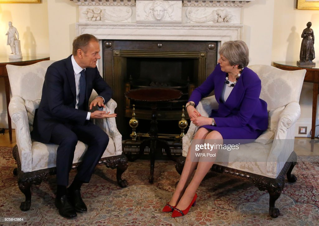 Prime Minister Theresa May meets EU Council President Donald Tusk at 10 Downing Street March 1, 2018 in London.