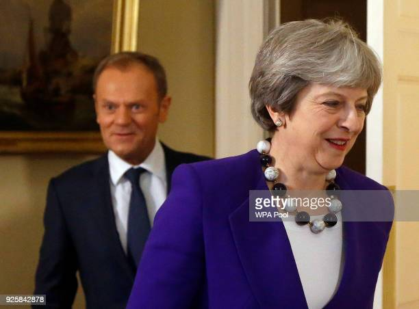 Prime Minister Theresa May meets EU Council President Donald Tusk at 10 Downing Street March 1 2018 in London