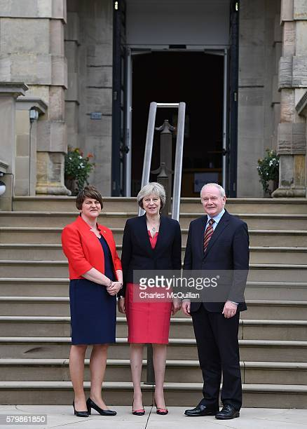 Prime Minister Theresa May meets Northern Ireland first minister Arlene Foster and deputy first minister Martin McGuinness at Stormont Castle on July...