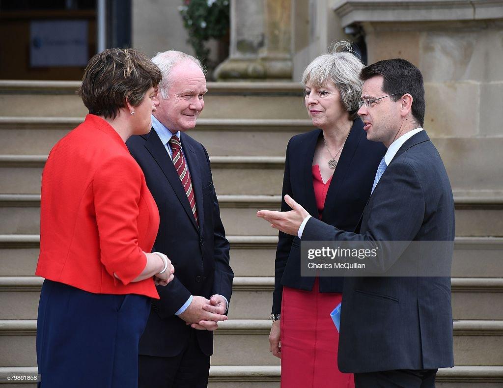 UK's Prime Minister Theresa May Visits Northern Ireland